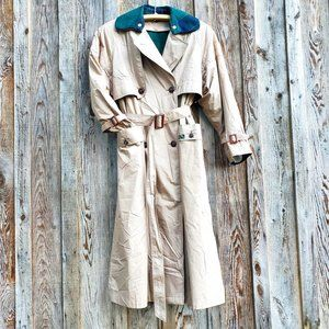 Vintage Norbert Nel Oversized Trench Coat Wool Blend Plaid Removable Lining